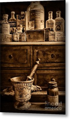 Pharmacist  Old Medicine In Black And White Metal Print by Paul Ward