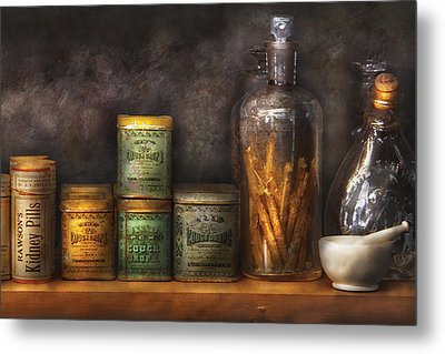 Pharmacy - Cough Drops And Kidney Pills Metal Print by Mike Savad