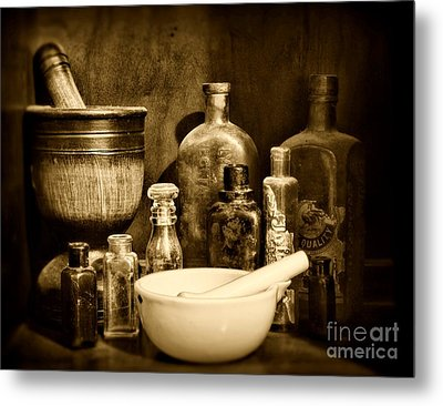 Pharmacy - Tools Of The Pharmacist - Black And White Metal Print by Paul Ward