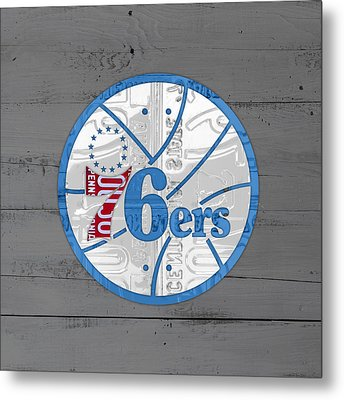 Philadelphia 76ers Basketball Team Retro Logo Vintage Recycled Pennsylvania License Plate Art Metal Print by Design Turnpike