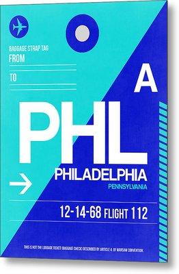 Philadelphia Luggage Poster 1 Metal Print by Naxart Studio