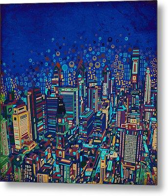 Philadelphia Panorama Pop Art 2 Metal Print by Bekim Art