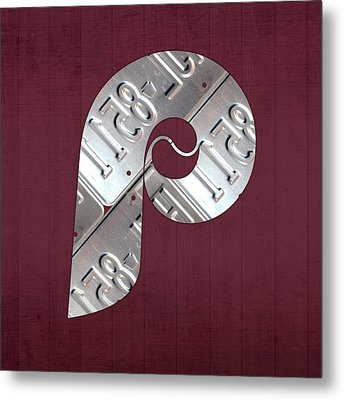 Philadelphia Phillies Baseball Team Vintage Logo Recycled Pennsylvania License Plate Art Metal Print by Design Turnpike