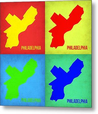 Philadelphia Pop Art Map 1 Metal Print by Naxart Studio