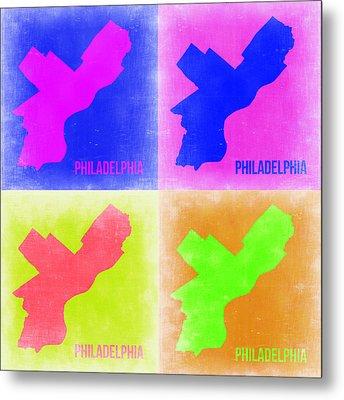 Philadelphia Pop Art Map 2 Metal Print by Naxart Studio