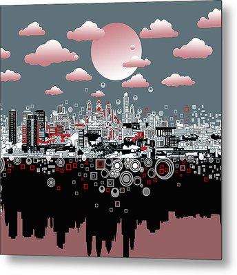 Philadelphia Skyline Abstract 6 Metal Print by Bekim Art