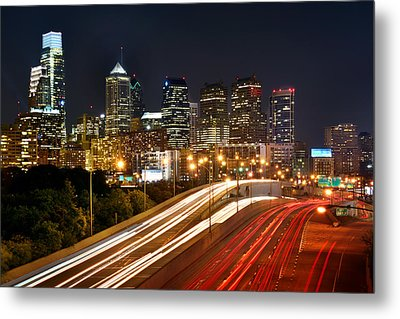Philadelphia Skyline At Night In Color Car Light Trails Metal Print by Jon Holiday