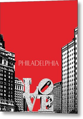 Philadelphia Skyline Love Park - Red Metal Print by DB Artist