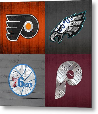 Philadelphia Sports Fan Recycled Vintage Pennsylvania License Plate Art Flyers Eagles 76ers Phillies Metal Print by Design Turnpike