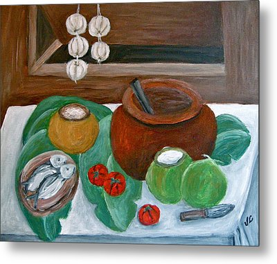 Philippine Still Life With Fish And Coconuts Metal Print by Victoria Lakes