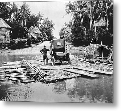 Philippines Bamboo Ferry Metal Print by Underwood Archives