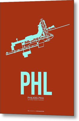 Phl Philadelphia Airport Poster 2 Metal Print by Naxart Studio