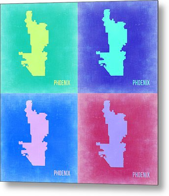 Phoenix Pop Art Map 1 Metal Print by Naxart Studio