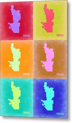 Phoenix Pop Art Map 3 Metal Print by Naxart Studio