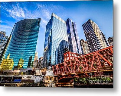 Photo Of Chicago Buildings At Lake Street Bridge Metal Print by Paul Velgos