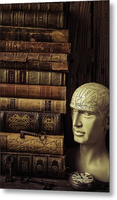 Phrenology Head And Old Books Metal Print by Garry Gay