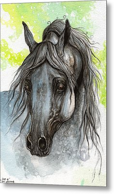 Piaff Polish Arabian Horse Watercolor  Painting 1 Metal Print by Angel  Tarantella