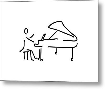 Pianist Musician Plays The Piano Metal Print by Lineamentum