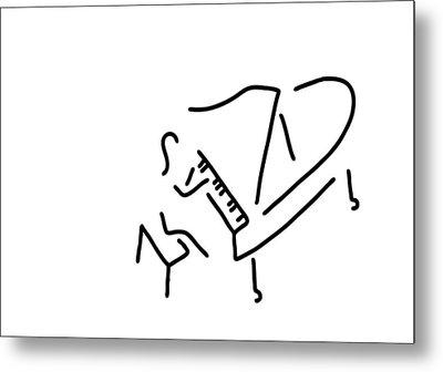 Pianist Piano Player Metal Print by Lineamentum