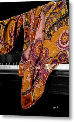 Piano With Scarf Metal Print by Madeline Ellis