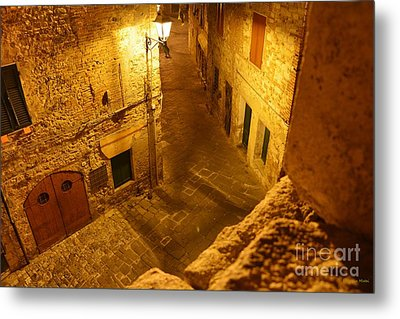 Piazza By Night In Tuscany Metal Print by Ramona Matei