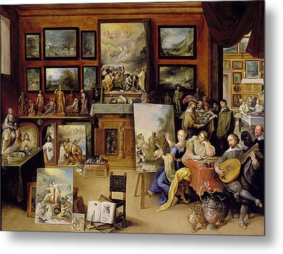 Pictura, Poesis And Musica In A Pronkkamer Oil On Panel Metal Print by Frans II the Younger Francken