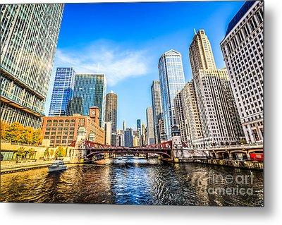 Picture Of Chicago At Lasalle Street Bridge Metal Print by Paul Velgos