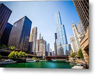Picture Of Chicago Skyline At Michigan Avenue Bridge Metal Print by Paul Velgos