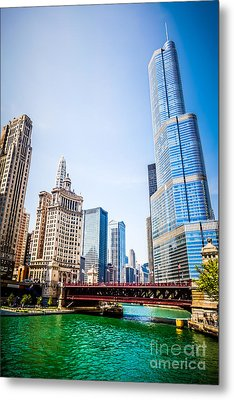Picture Of Downtown Chicago With Trump Tower Metal Print by Paul Velgos