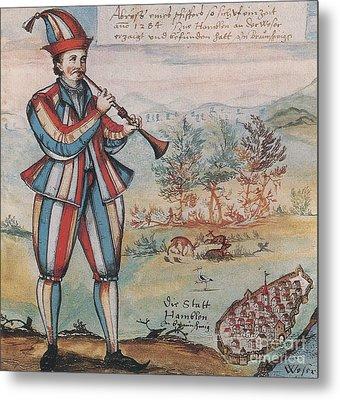 Pied Piper Of Hamelin, German Legend Metal Print by Photo Researchers