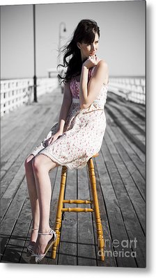 Pier Lady Pondering  Metal Print by Jorgo Photography - Wall Art Gallery