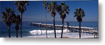 Pier Over An Ocean, San Clemente Pier Metal Print by Panoramic Images