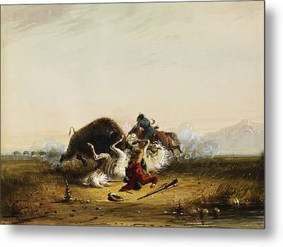 Pierre And The Buffalo Metal Print by Alfred Jacob Miller