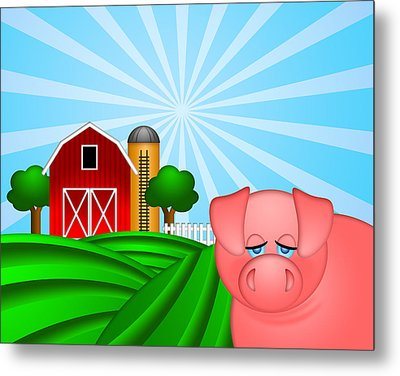 Pig On Green Pasture With Red Barn With Grain Silo  Metal Print by JPLDesigns