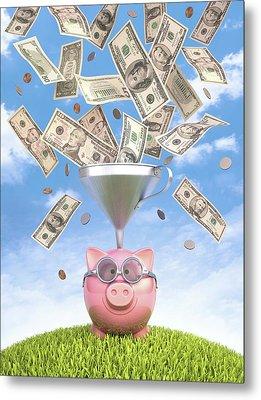 Piggy Bank And Dollars Metal Print by Ktsdesign