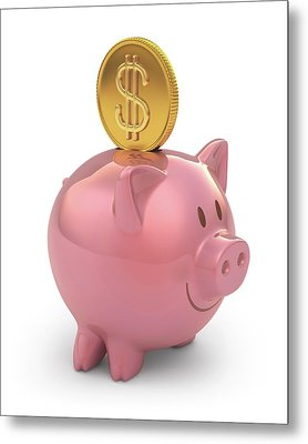 Piggy Bank And Gold Coin Metal Print by Ktsdesign