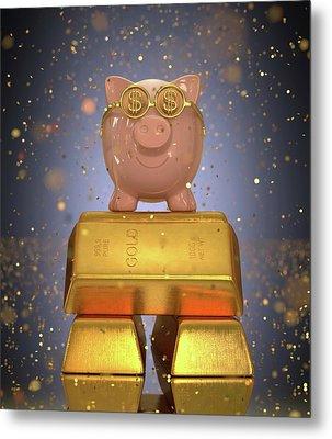 Piggy Bank On Gold Bullion Metal Print by Ktsdesign