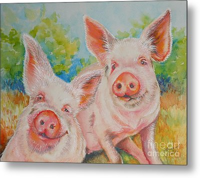 Pigs Pink And Happy Metal Print by Summer Celeste