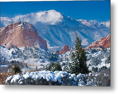 Pikes Peak In Winter Metal Print by John Hoffman