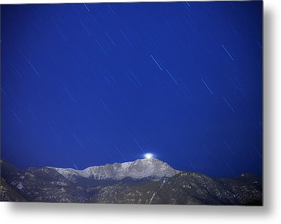 Pikes Peak Under The Stars Metal Print by Darren  White