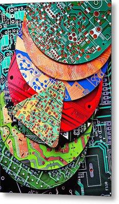 Pile Of Circuit Boards Metal Print by Garry Gay