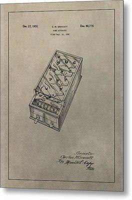 Pinball Machine Patent Metal Print by Dan Sproul