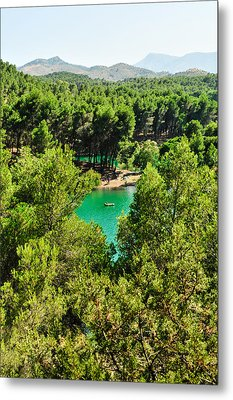 Pine Forests With Mountainous Backdrops Surround Turquoise Lakes Metal Print by Tetyana Kokhanets