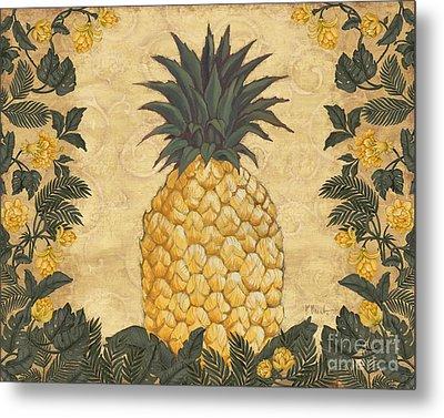 Pineapple Floral Metal Print by Paul Brent