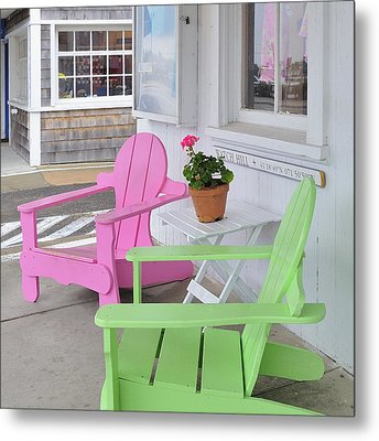 Pink And Green Chairs Watch Hill Rhode Island Metal Print by Marianne Campolongo