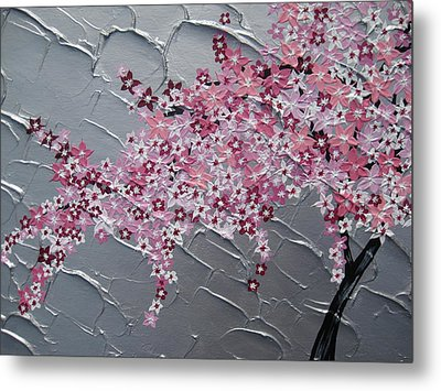 Pink And White Cherry Blossom Metal Print by Cathy Jacobs