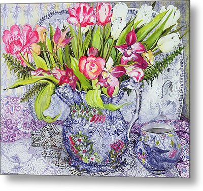 Pink And White Tulips Orchids And Blue Antique China Metal Print by Joan Thewsey