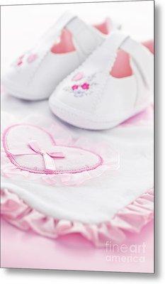 Pink Baby Girl Clothes Metal Print by Elena Elisseeva