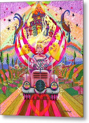Pink Car Angel Metal Print by Jacquelin Vanderwood