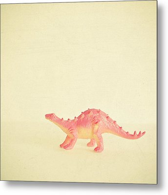 Pink Dinosaur Metal Print by Cassia Beck